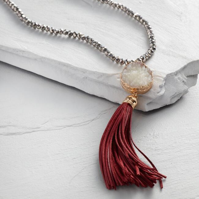 Hematite and Leather Tassel Necklace