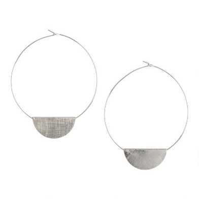 Silver Disc Hoop Earrings