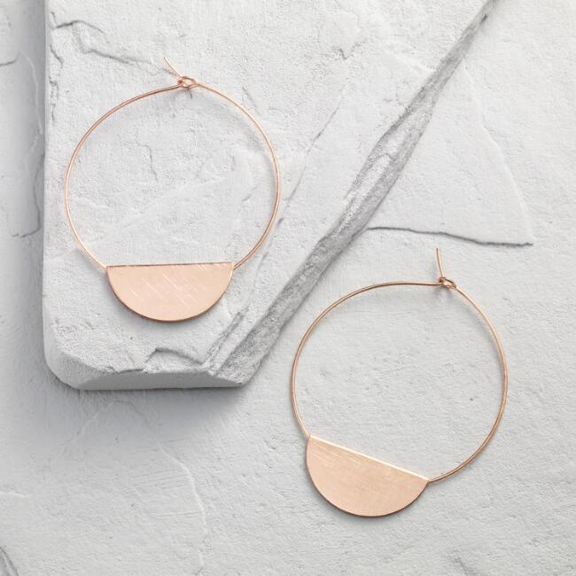 Rose Gold Disc Hoop Earrings