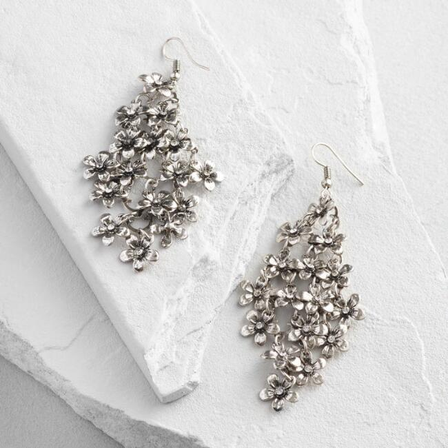 Silver  Flower Chandelier Earrings
