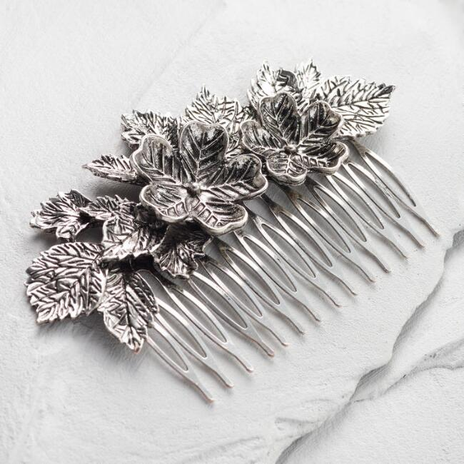 Silver Flower Hair Comb