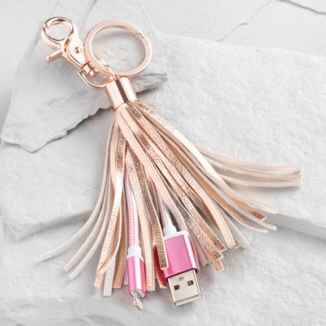 Rose Gold iPhone Charger Tassel Keychain