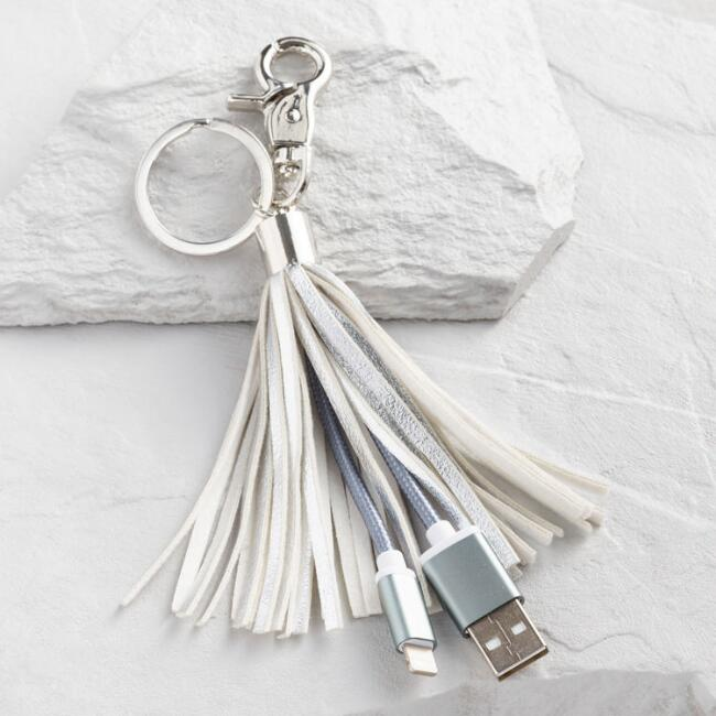 Silver Phone Charger Tassel Keychain