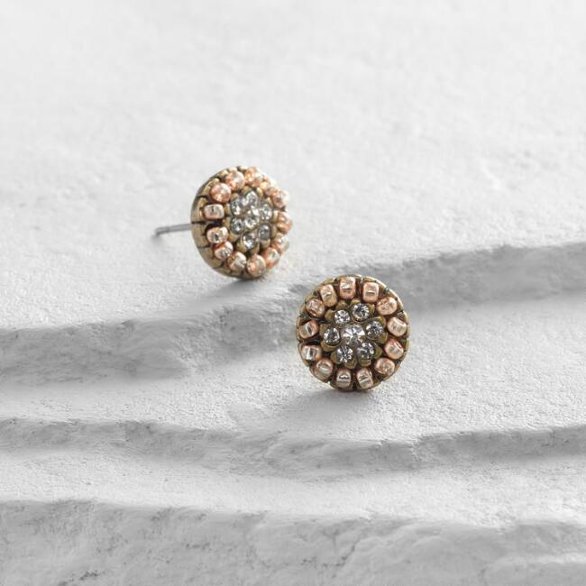 Gold and Copper Flower Stud Earrings