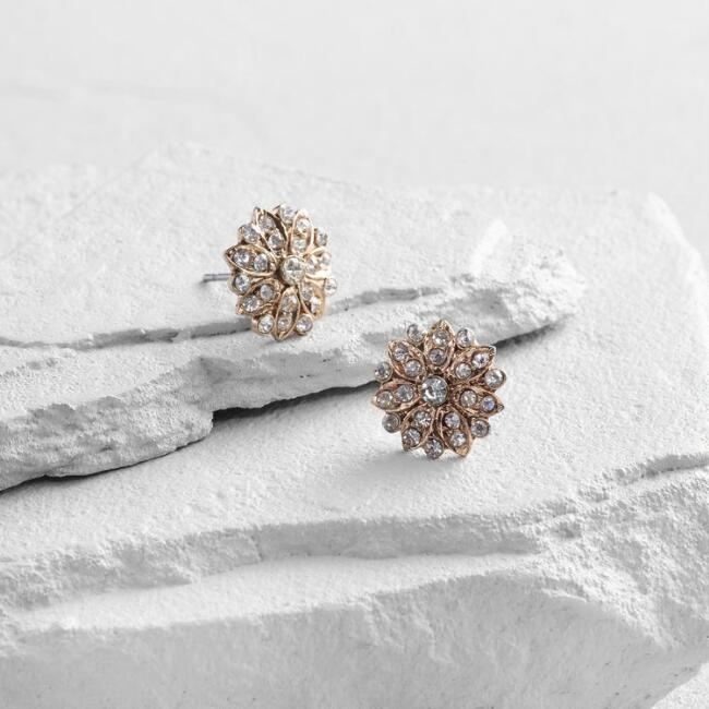 Gold and Diamond Starburst Stud Earrings