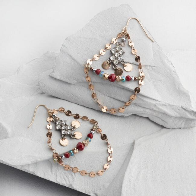Gold Disc Beaded Chandelier Earrings