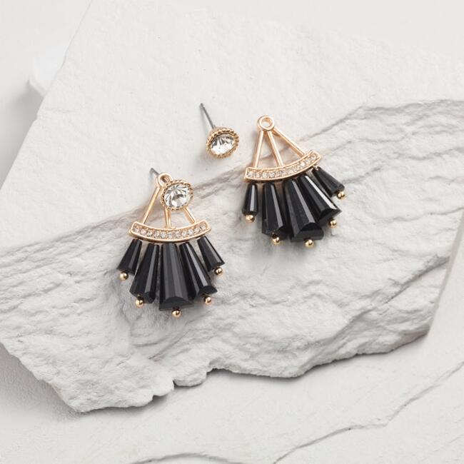 Black Fan Stud Earrings