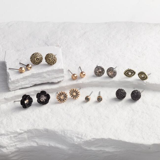 Gold and Black Stud Earrings Set of 9