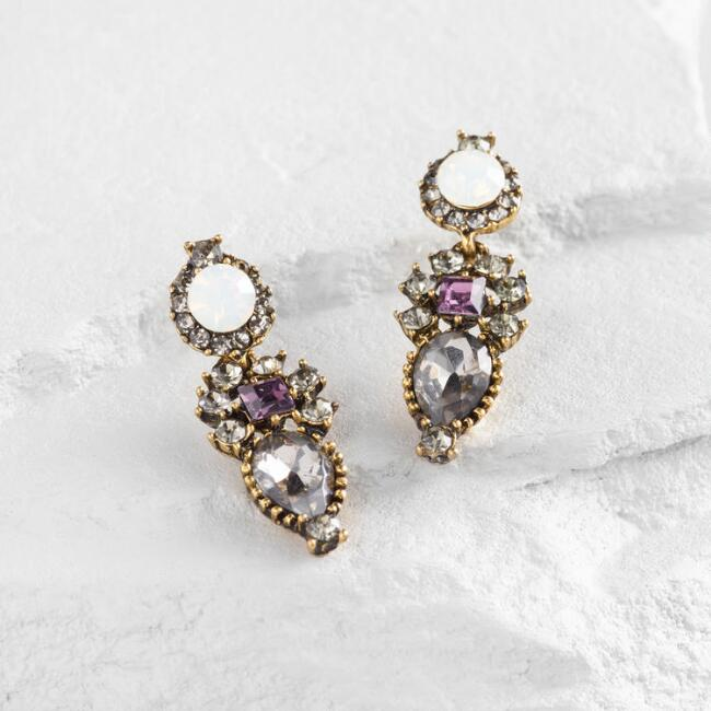 Gold and Purple Drop Earrings