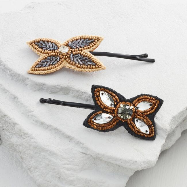 Beaded Flower Hair Pins Set of 2