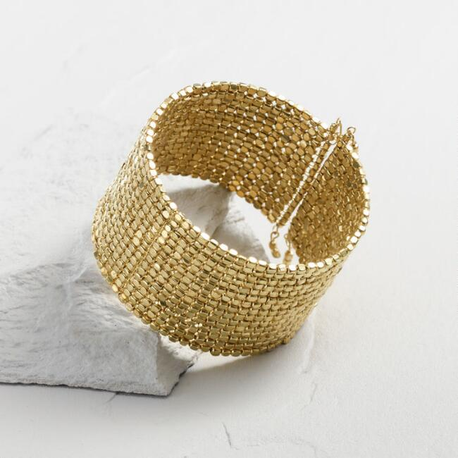Gold Metal Beaded Cuff Bracelet