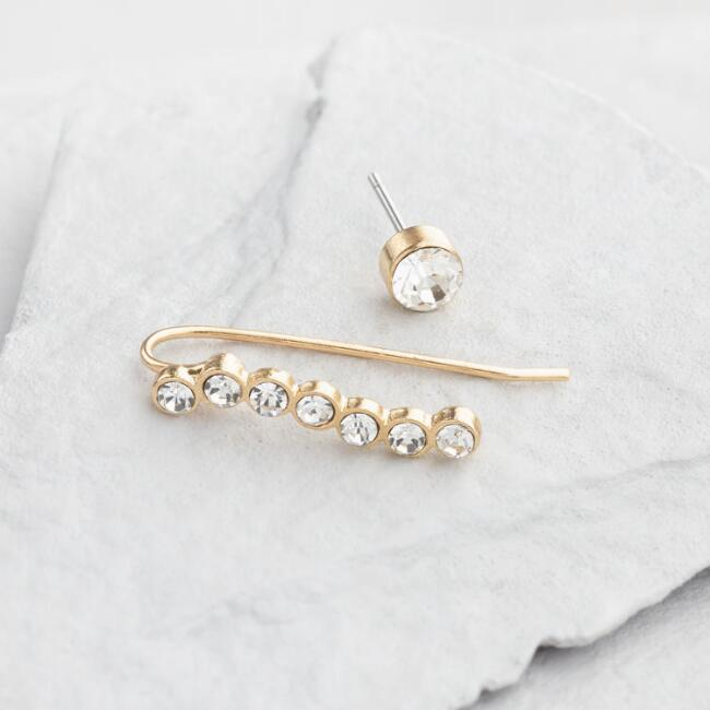 Gold Stud and Drop Ear Climbers