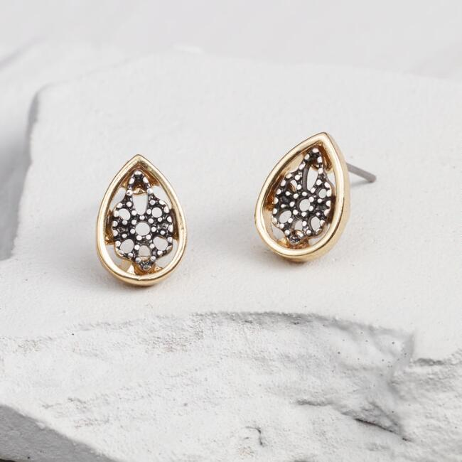 Gold and Silver Teardrop Stud Earrings