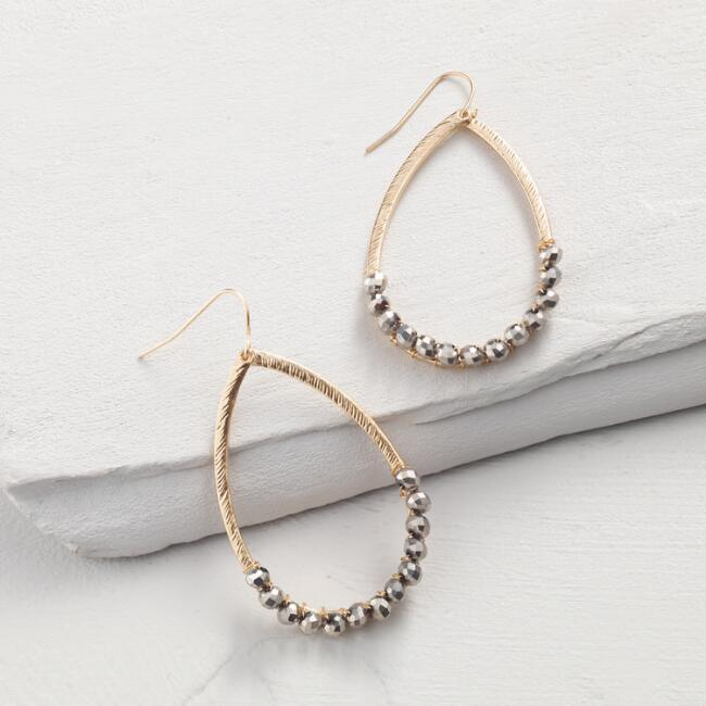 Gold and Hematite Hoop Drop Earrings