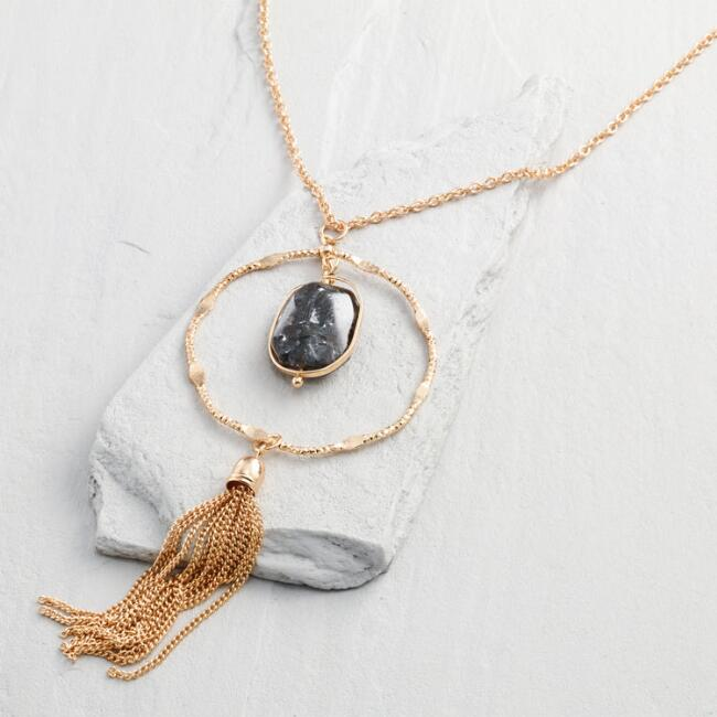 Gold and Labradorite Tassel Necklace