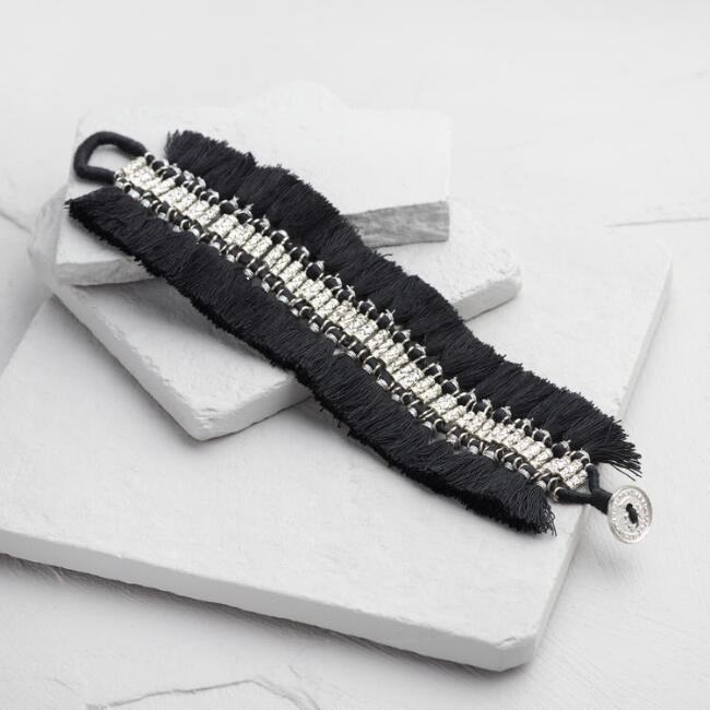 Black and White Fringe Bracelet