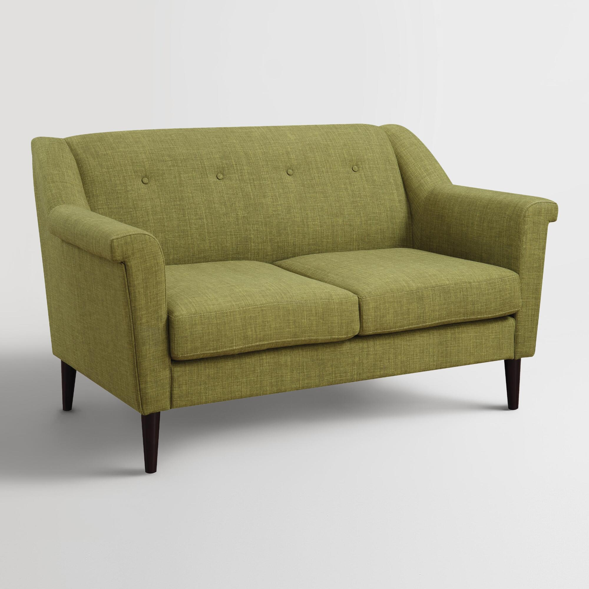 Buy green navarre upholstered loveseat by world market with discount and free delivery Upholstered sofas and loveseats
