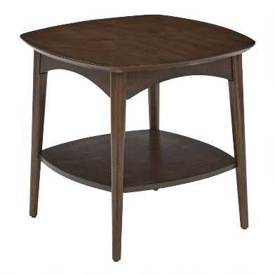 Walnut Brown Wood Brewston End Table With Shelf