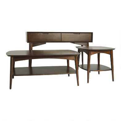 Walnut Brown Wood Brewston Table Collection