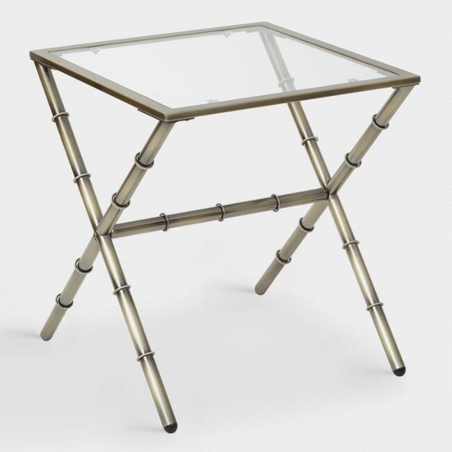 Antique Brass and Glass Sana Accent Table
