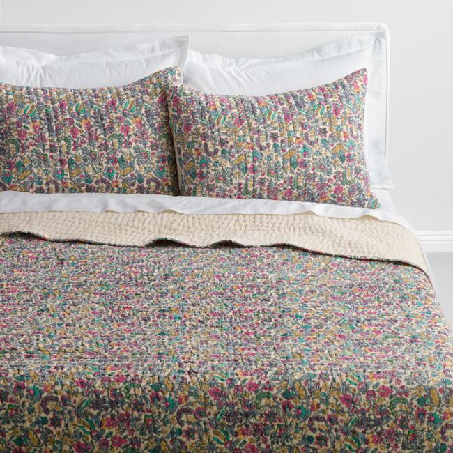 Floral Kantha Embroidered Amelia Bedding Collection