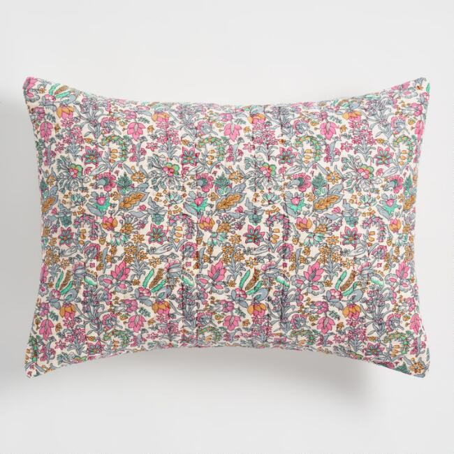 Floral Kantha Embroidered Amelia Pillow Shams Set of 2