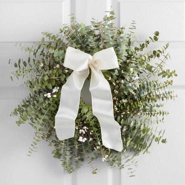 Live Eucalyptus and Berry Wreath with White Ribbon