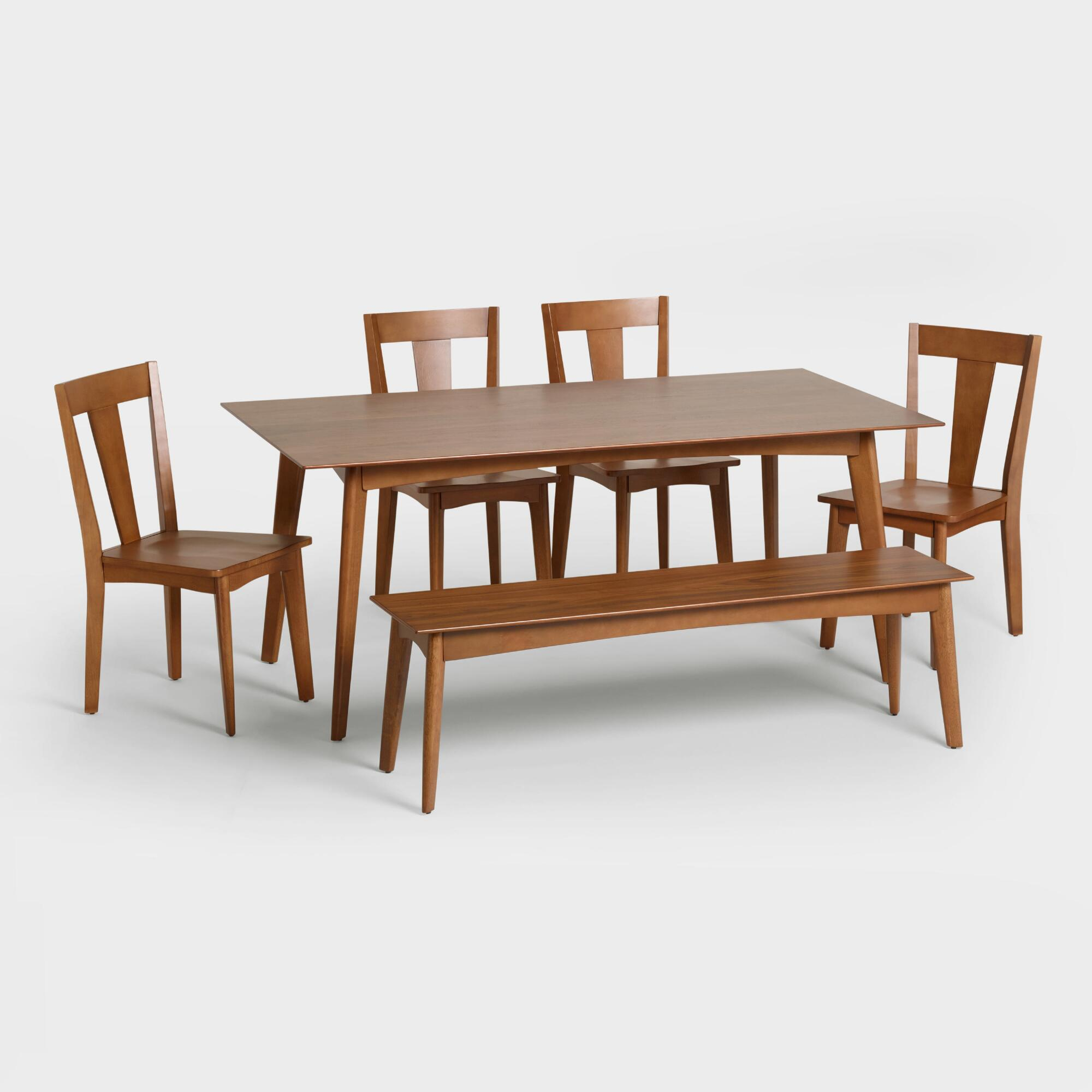Rustic wood dining table w 4 upholstered chair 84 in l - Weston Mid Century Dining Collection