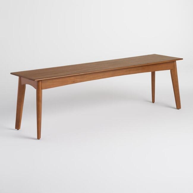 Brown Wood Weston Mid Century Dining Bench