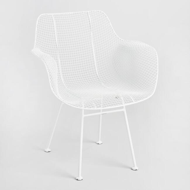 White Wire Larkin Molded Armchairs Set of 2