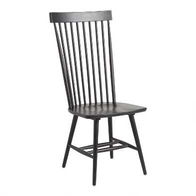 Black Wood Kamron High Back Windsor Chairs Set of 2