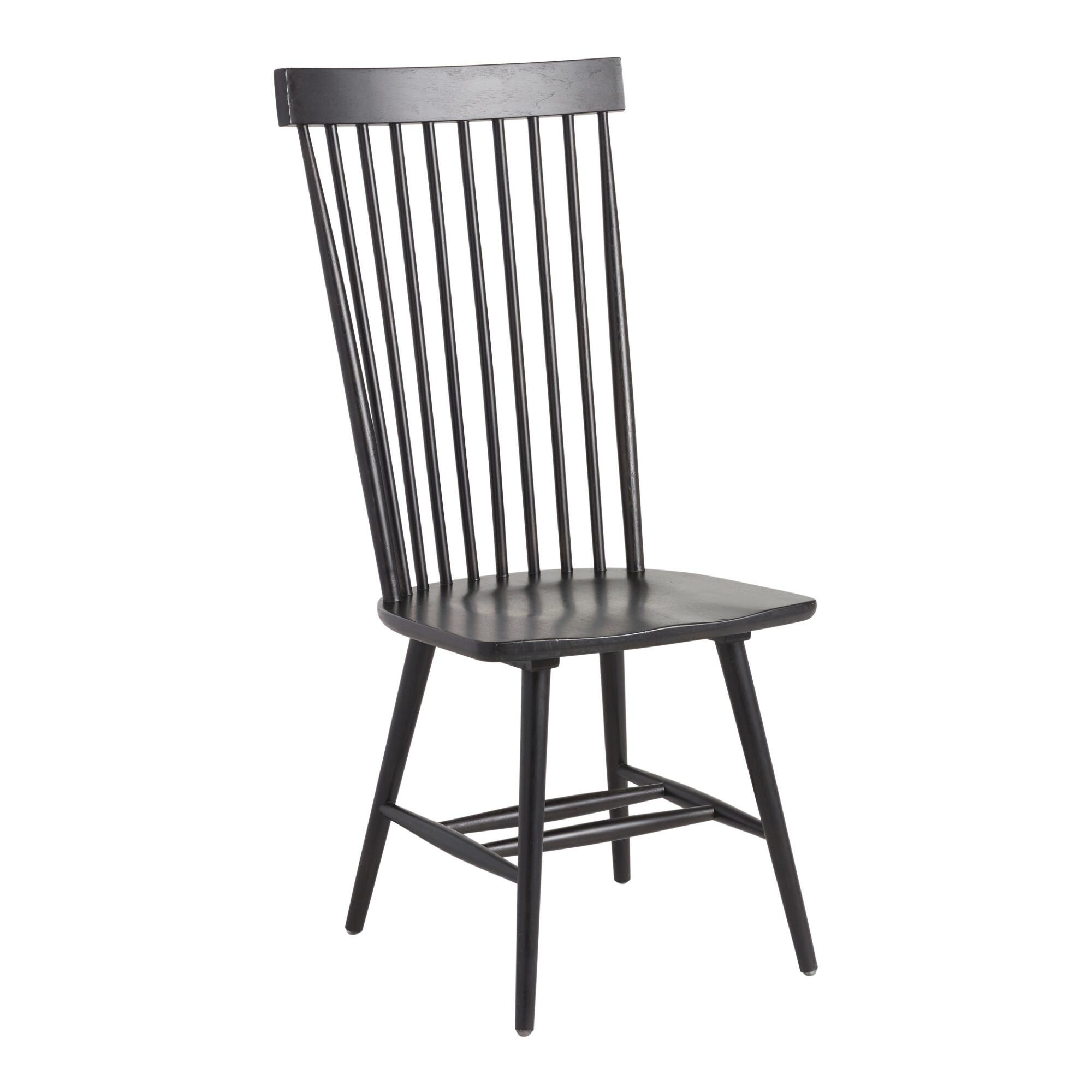 Black Wood Kamron High Back Windsor Chairs Set of 2. Dining Room Chairs   Upholstered Sets   World Market