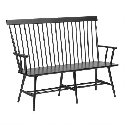 Awesome Black Wood Kamron High Back Windsor Bench Bralicious Painted Fabric Chair Ideas Braliciousco
