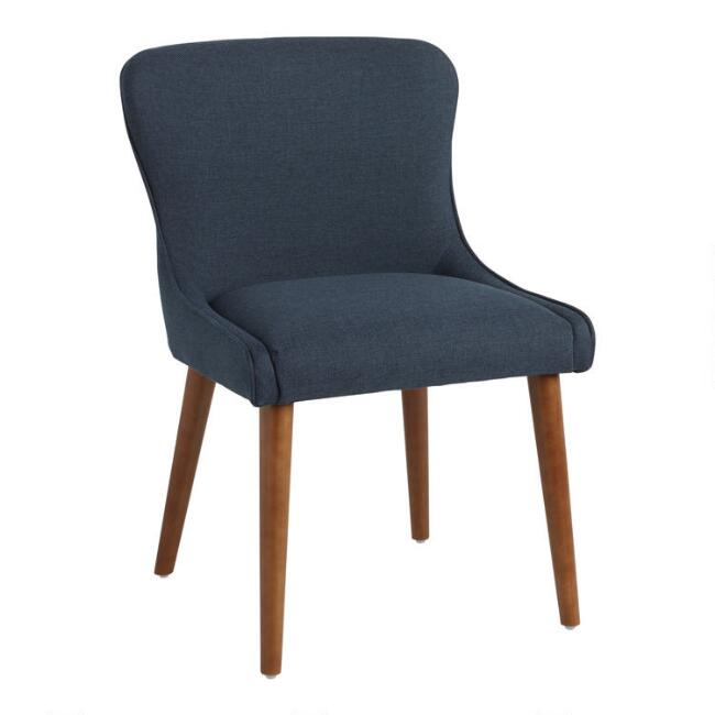 Navy Zarah Petite Wingback Upholstered Chairs Set of 2
