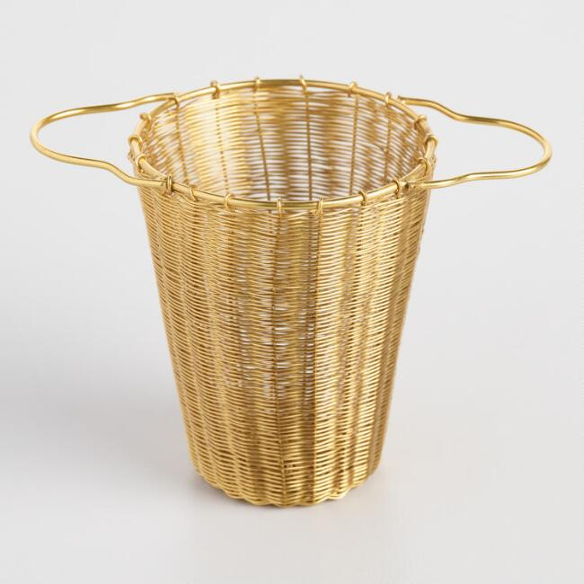 Gold Woven Wire Deep Basket Tea Strainer