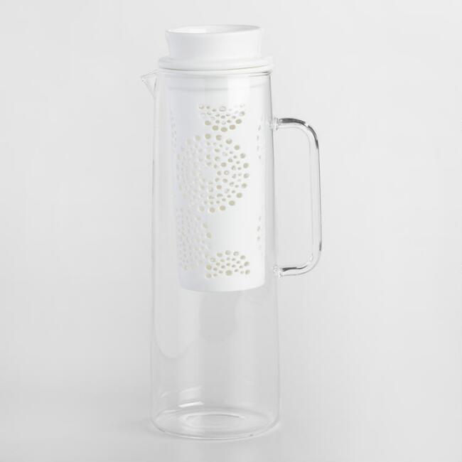 Glass Carafe with White Porcelain Infuser