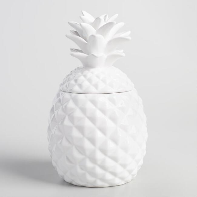 White Pineapple Ceramic Cookie Jar