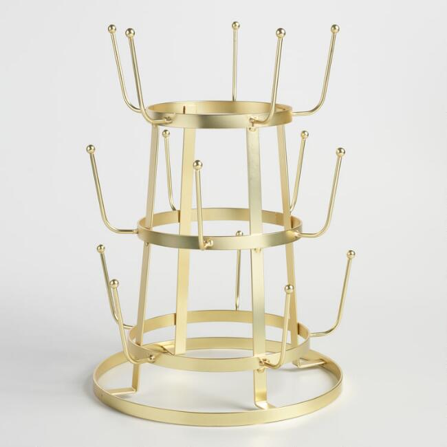 Gold Metal 3 Tier Glass Drying Rack