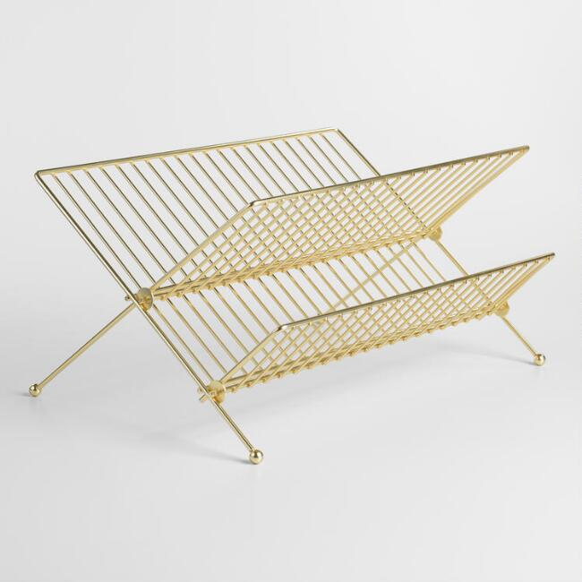 Gold Metal 2 Tier Folding Dish Drying Rack