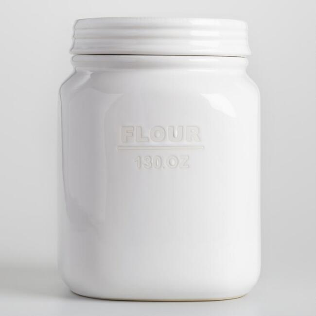 White Ceramic Flour Canister by World Market
