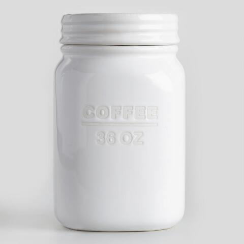 befde2ce810 White Ceramic Coffee Canister