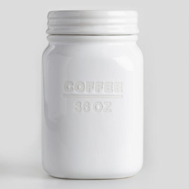 White Ceramic Coffee Canister