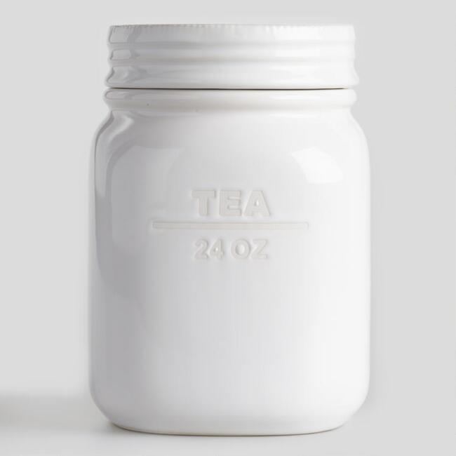 White Ceramic Tea Canister