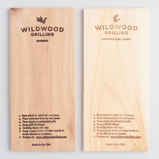 Cedar and Hickory Wood 2 Count Grilling Planks Set of 2