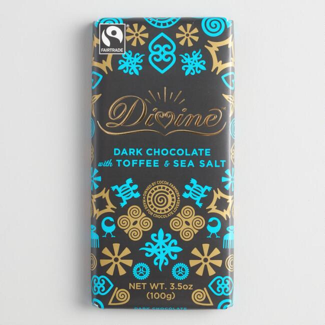 Divine 70% Dark Chocolate Toffee & Sea Salt Bar