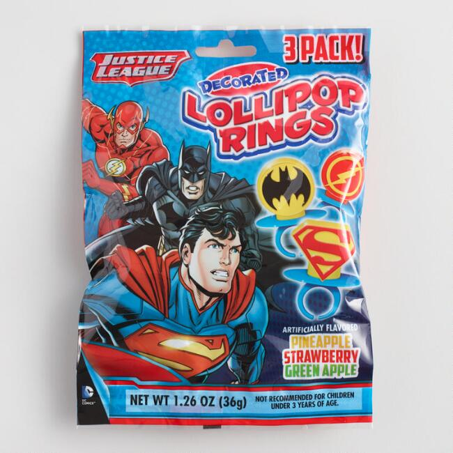 Justice League Lollipop Rings Set of 3