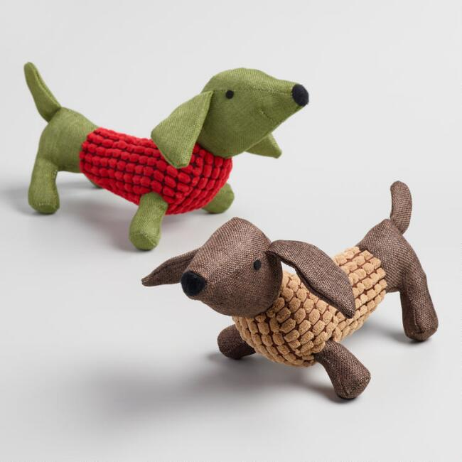 Dachshund Fabric Dog Toys Set of 2