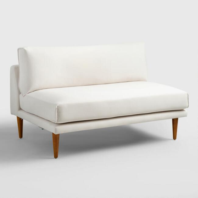 Ivory Nica Sectional Armless 2 Seat Sofa