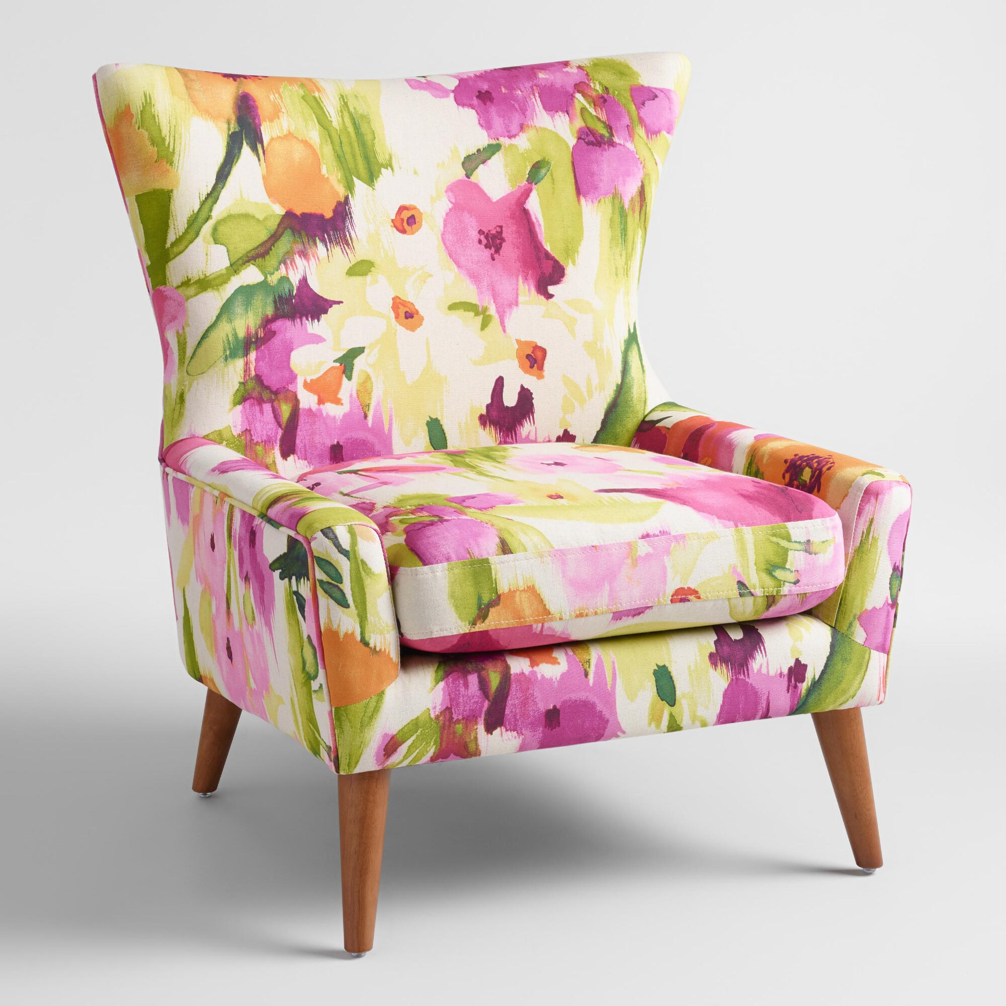 Colourful accent chairs - Watercolor Floral Ariana Accent Chair