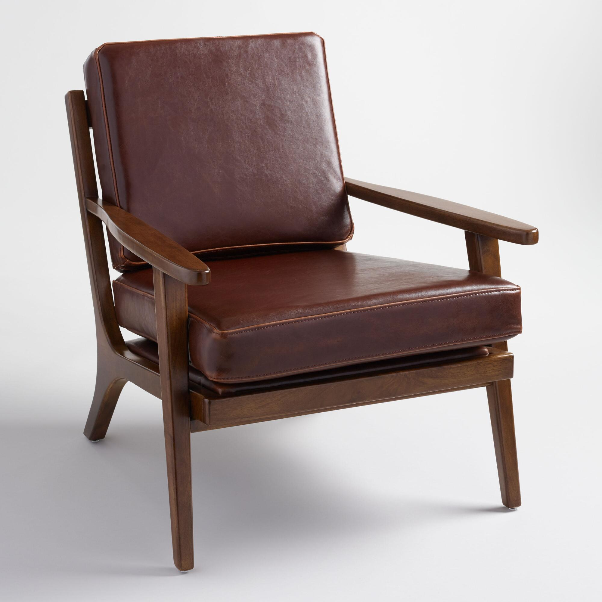 whiskey bi cast leather xander armchair - Living Room Chairs
